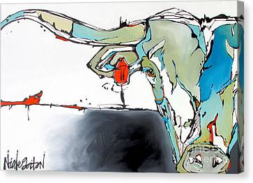 Number 17 Longhorn Steer Canvas Print by Nicole Gaitan
