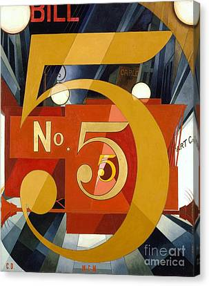 Number 5 In Gold Canvas Print by Pg Reproductions