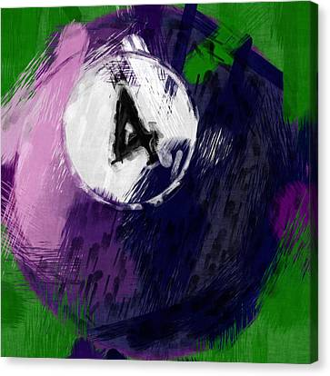 Number Four Billiards Ball Abstract Canvas Print by David G Paul