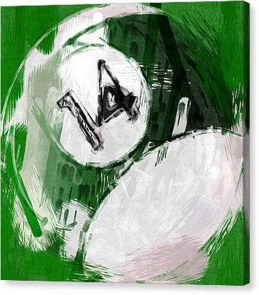 Number Fourteen Billiards Ball Abstract Canvas Print by David G Paul