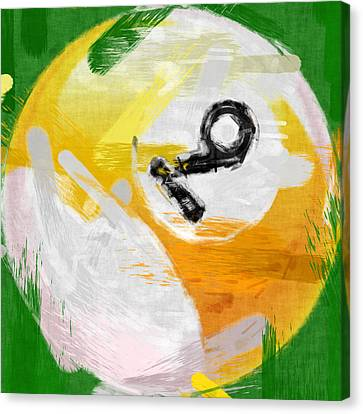 Number Nine Billiards Ball Abstract Canvas Print by David G Paul