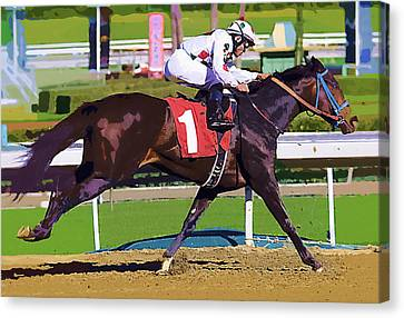 Number One Racing Canvas Print by Clarence Alford