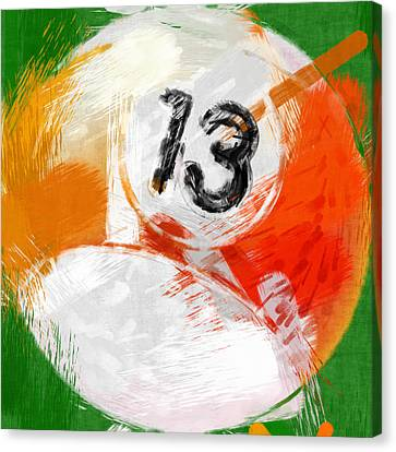 Number Thirteen Billiards Ball Abstract Canvas Print by David G Paul