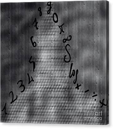 Terrorist Canvas Print - Numbers And Shadowman by Sezer Akdeniz