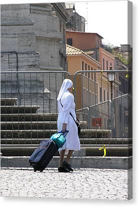 Nun Dragging Her Suitcase Canvas Print
