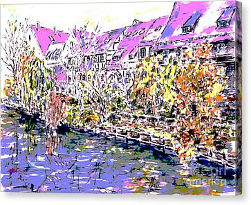 Nuremberg Northern Riverside Of Pegnitz Pop Art Series Canvas Print