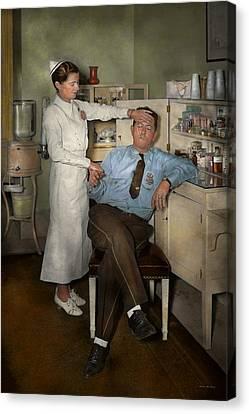 Police Art Canvas Print - Nurse - Sick Day - 1937 by Mike Savad