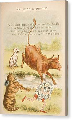 Nursery Rhyme And Illustration Of Hey Canvas Print by Vintage Design Pics