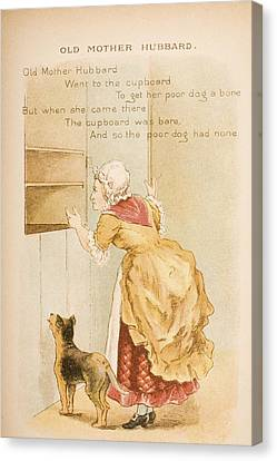 Nursery Rhyme And Illustration Of Old Canvas Print by Vintage Design Pics