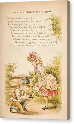 Nursery Rhyme And Illustration Of One Canvas Print by Vintage Design Pics