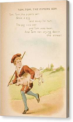 Nursery Rhyme And Illustration Of Tom Canvas Print by Vintage Design Pics