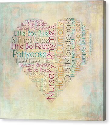 Nursery Rhymes Heart Canvas Print by Brandi Fitzgerald