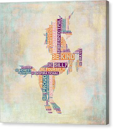 Extinct And Mythical Canvas Print - Nursery Rhymes Unicorn by Brandi Fitzgerald