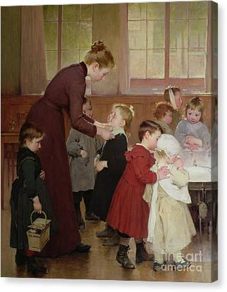 Nursery School Canvas Print by Hneri Jules Jean Geoffroy