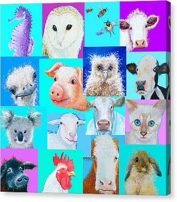 Nursery Wall Art - Collage Of Animals Canvas Print by Jan Matson