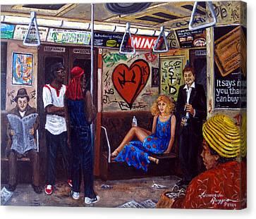 Ny City Subway In The 70 Canvas Print by Leonardo Ruggieri