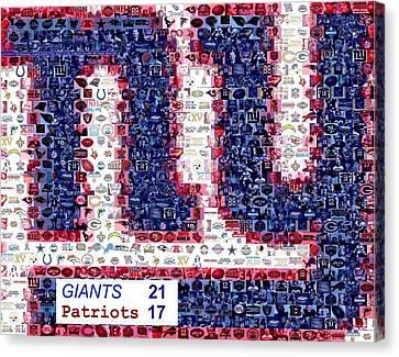 Ny Giants Super Bowl Mosaic Canvas Print by Paul Van Scott