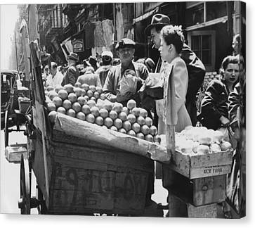 Produce Canvas Print - Ny Push Cart Vendors by Underwood Archives