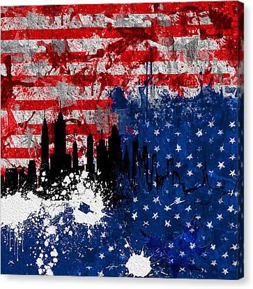 Ny Skyline 200 2 Canvas Print by Mawra Tahreem