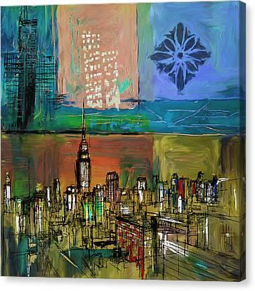 Ny Skyline 270 2 Canvas Print by Mawra Tahreem