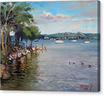 Nyack Park By Hudson River Canvas Print by Ylli Haruni