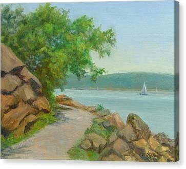 Nyack Trail Along The Hudson Canvas Print by Phyllis Tarlow