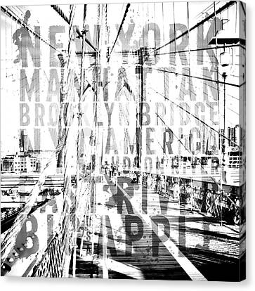 Nyc Brooklyn Bridge Typography No2 Canvas Print by Melanie Viola