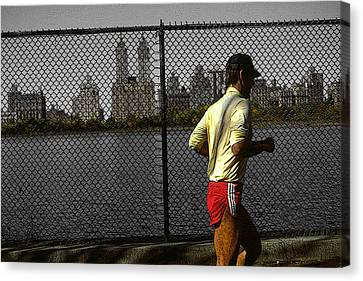 Jogging Canvas Print - New York Central Park Jogger by Art America Gallery Peter Potter