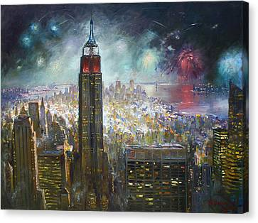 Fireworks Canvas Print - Nyc. Empire State Building by Ylli Haruni