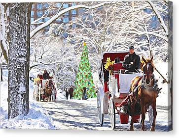 Festive Winter Carriage Rides Canvas Print by Sandi OReilly