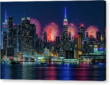 Nyc Fireworks Celebration Canvas Print