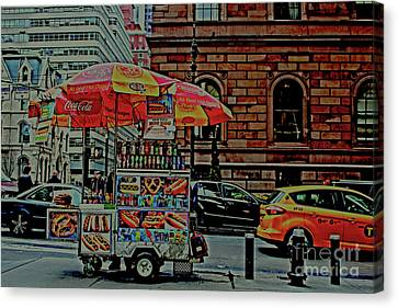 Canvas Print featuring the photograph New York City Food Cart by Sandy Moulder
