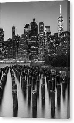 Canvas Print featuring the photograph Nyc Skyline Bw by Laura Fasulo
