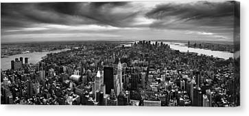 Nyc Manhattan Panorama Canvas Print by Nina Papiorek