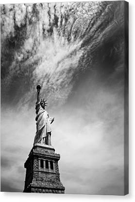 New York City Skyline Canvas Print - Nyc Miss Liberty by Nina Papiorek