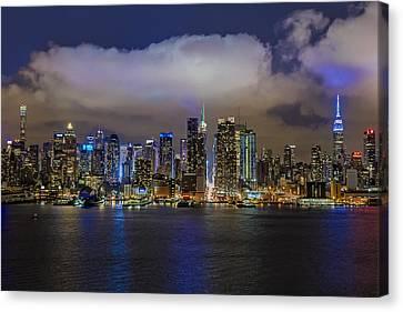 Nyc Skyline At Night Canvas Print by Susan Candelario