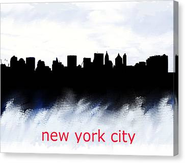 Nyc Skyline Blue And Red  Canvas Print