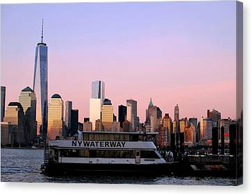 Nyc Skyline With Boat At Pier Canvas Print by Matt Harang