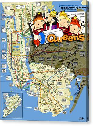 Nyc Subway Map Queens Canvas Print by Turtle Caps
