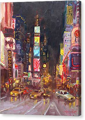 Nyc Times Square Canvas Print by Ylli Haruni