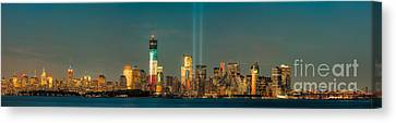 Nyc Tribute In Light Skyline Panorama I Canvas Print by Clarence Holmes