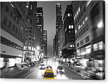Nyc Taxi Cab In Action Canvas Print