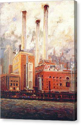 Canvas Print featuring the painting Nyc- View From East River  by Walter Casaravilla
