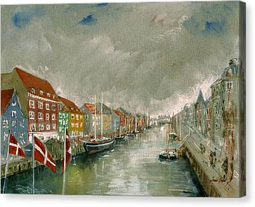 Nyhavn Copenhagen Canvas Print by Juan  Bosco