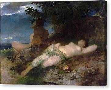 Nymph And Satyr Canvas Print by Arnold Boecklin