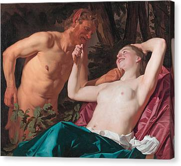 Nymph And Satyr Canvas Print by Gerrit van Honthorst