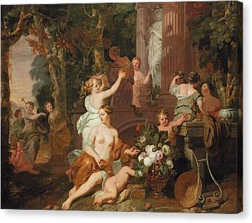 Nymphs And Bacchantes Paying Homage At The Temple Of Flora  Canvas Print by Gerard de Lairesse
