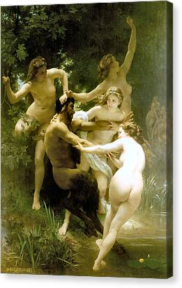 Nymphs And Satyr 1873 Canvas Print by William Bouguereau Presented by Joy of Life Art