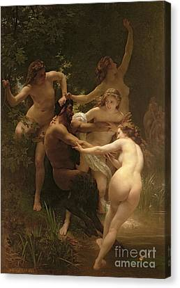 Woman Nude Canvas Print - Nymphs And Satyr by William Adolphe Bouguereau