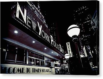 Ny Police Department Canvas Print - Nypd In Lights by Shelley Evans